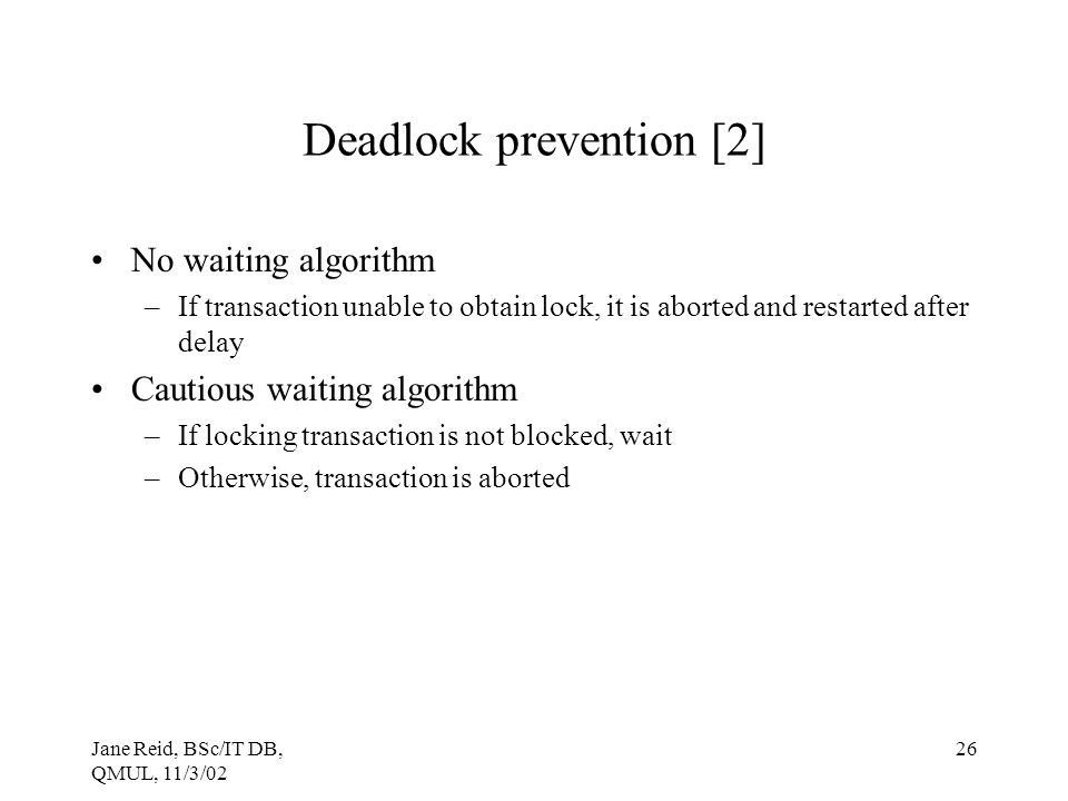 Deadlock prevention [2]